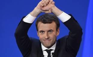 Emmanuel Macron lors de son meeting au parc des Expositions de Paris le 23 avril 2017.