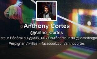 Capture d'écran du compte Twitter d'Anthony Cortès.