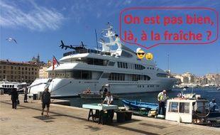 Représentation très libre du yacht et de ses habitants.
