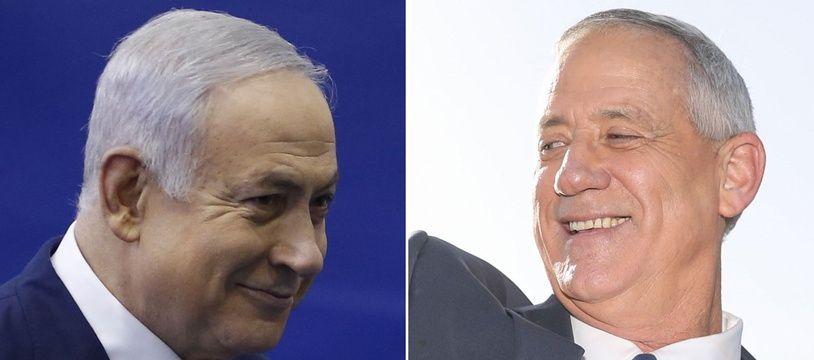 Benjamin Netanyahou et son adversaire centriste Benny Gantz (photomontage).