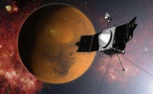 Vue d'artiste de la sonde Maven approchant Mars.