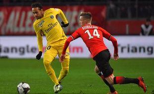 Neymar face à Rennes, en demi-finale de Coupe de la Ligue, le 30 janvier 2018.