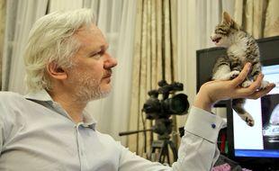 Julian Assange et son chat.