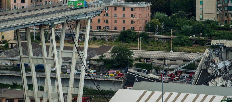 Le pont Morandi à Genève s'est écroulé mardi 14 août 2018.