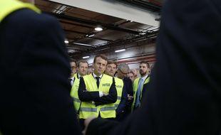 Emmanuel Macron en visite chez Whirlpool à Amiens, le 3 octobre 2017.