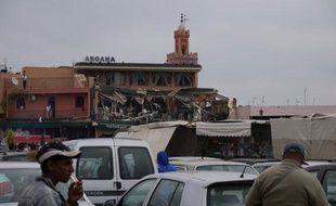 Le café Argana, situé sur la place Jemaa el Fna, à Marrakech, a été dévasté par une explosion le 28 avril 2011.