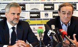 Stéphane Martin avec Jean-Louis Triaud lors de sa présentation à la presse.