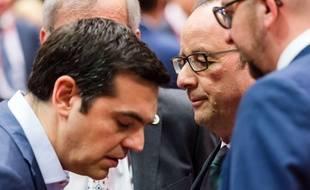 Alexis Tsipras face à François Hollande, à Bruxelles, le 12 juillet 2015.