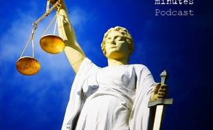 Illustration de la justice avec le logo 20 Minutes Podcast