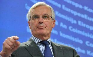Michel Barnier, commissaire européen au marché intérieur et aux services lors d'une conférence de presse àBruxelles, le 27 janvier 2011.