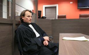 Strasbourg, le 12 janvier 2014. - Michaël Wacquez,  l'avocat du Strasbourgeois interpellé pour apologie de terrorisme sur Facebook après l'attentat contre «Charlie Hebdo».
