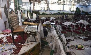 A Kaboul, la salle du mariage après l'attentat, le 18 août 2019