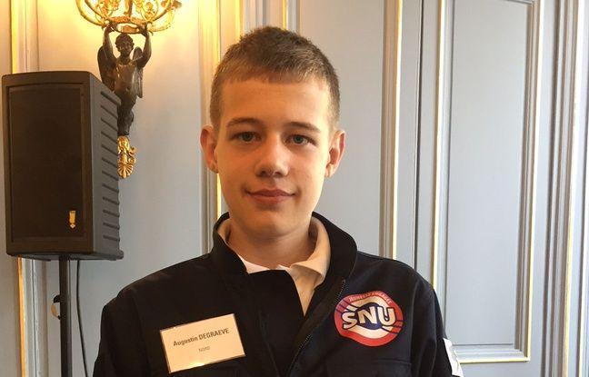 Augustin, 15 ans, de Valenciennes, l'un des pionniers du SNU, le 18/04/2019.