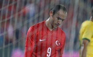 L'attaquant turc Umut Bulut lors d'un match amical entre la Turquie et le Brésil, le 12 novembre 2014 à Istanbul.