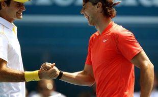 Roger Federer et Rafael Nadal à Melbourne le 16 janvier 2011.