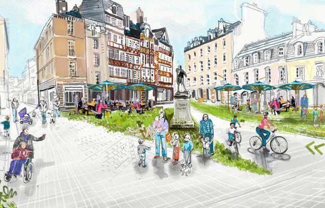 La future place du Champ-Jacquet imaginée par une illustratrice.