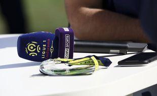 Un micro beIN Sports, lors d'un match de Ligue 1.