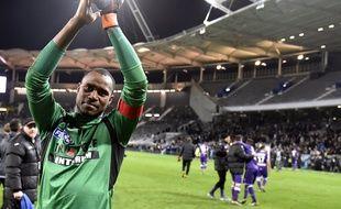 Le gardien du TFC Ali Ahamada après la victoire contre Marseille en quart de finale de la Coupe de la Ligue, le 13 janvier 2016 au Stadium de Toulouse.