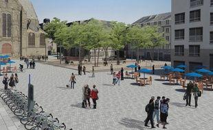 Vue d'architecte de la future place Saint-Germain, à Rennes.