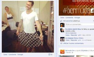 Un Brésilien a revêtu - alors que les thermomètres affichaient 40,8°C - une jupe longue noire à losanges blancs et a posté sa photo sur Facebook, le 4 février 2014