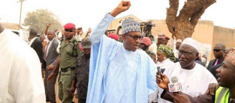 Le président nouvellement élu du Nigeria Muhammadu Buhari le 11 avril 2015 à Daura