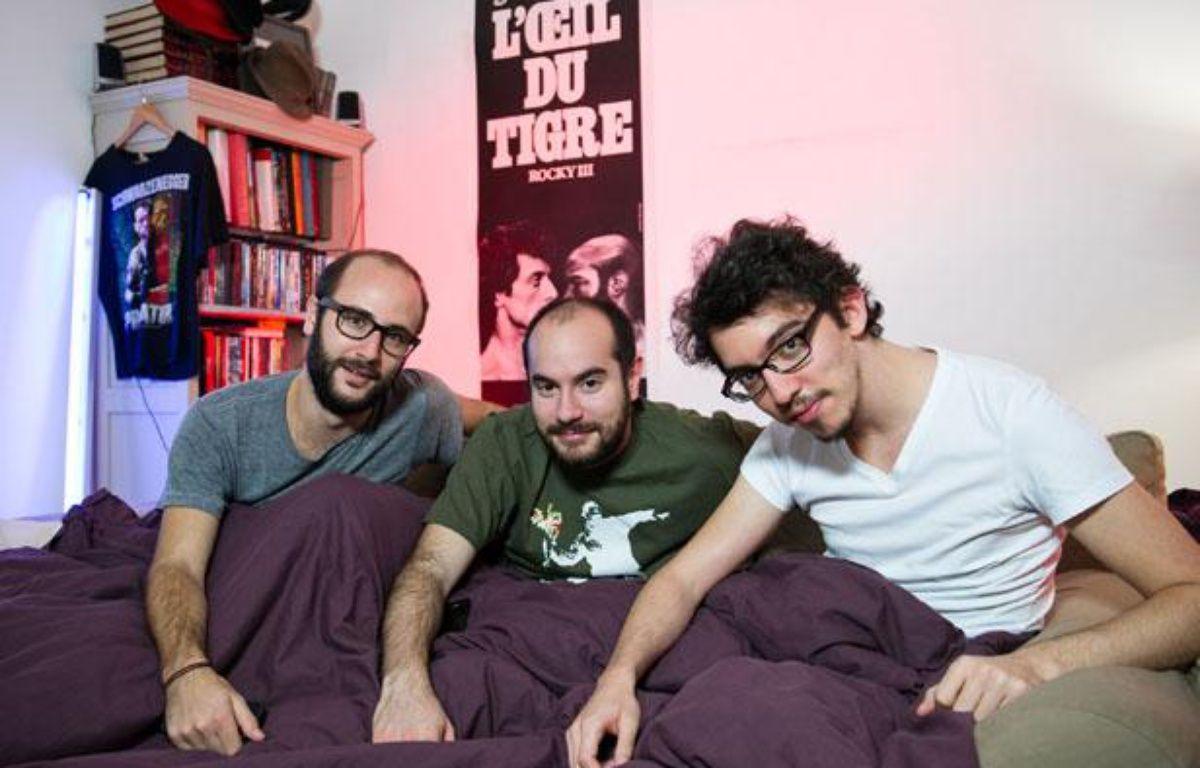 De gauche à droite, HarryTordjman (producteur) Kyan Khojandi (acteur, co-auteur, co-réalisateur) Bruno Muschio (co-auteur, co-réalisateur) de la série Bref.  – Canal+