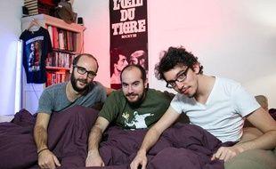 De gauche à droite, HarryTordjman (producteur) Kyan Khojandi (acteur, co-auteur, co-réalisateur) Bruno Muschio (co-auteur, co-réalisateur) de la série Bref.