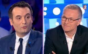 Florian Philippot et Laurent Ruquier dans «On n'est pas couché» diffusé le 1er avril 2017.