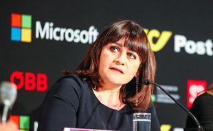 Lisa Angell en conférence de presse, à Vienne (Autriche), le 20 mai 2015.