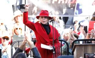 L'actrice Jane Fonda lors d'un rassemblement Fire Drill Fridays à Los Angeles
