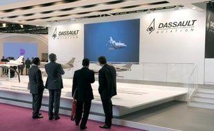Le stand Dassault Aviation lors d'un salon aéronautique, en juin 2014 près de Paris