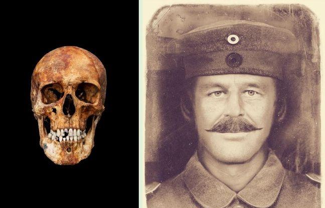 Le crâne d'un soldat allemand retrouvé sur le champ de bataille à Bullecourt, près d'Arras, et une reconstitution du visage.
