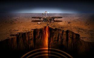 Vue d'artiste des instruments de la sonde de la Nasa InSight, qui s'est posée sur Mars le 26 novembre 2018.