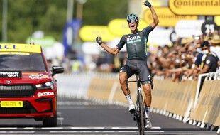 Nils Politt vainqueur en solitaire à Nîmes, le 8 juillet 2021.