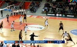 Capture d'écran de la rencontre de basket entre Rouen et Boulogne-sur-Mer le vendredi 15 mars 2013.