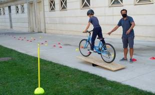 Lors de la première formation du Bonheur à vélo, à Antigone