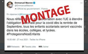 Emmanuel Macron n'a pas posté ce tweet.