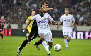 Le milieu de terrain de l'OM André Ayew lors du match contre Nice le 18 octobre 2013.
