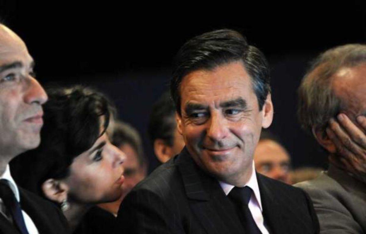Jean-François Copé, Rachida Dati et François Fillon, le 24 septembre 2010 lors de la session parlementaire de l'UMP à Biarritz. – WITT/SIPA