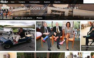 Capture d'écran de la page Flickr dédiée aux photos d'Américains qui rendent hommage à George Bush senior en chaussettes, le 16 juin 2013.
