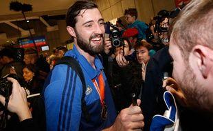 Le gardien de l'équipe de France de handball Cyril Dumoulin, le 2 février 2015 à Roissy.