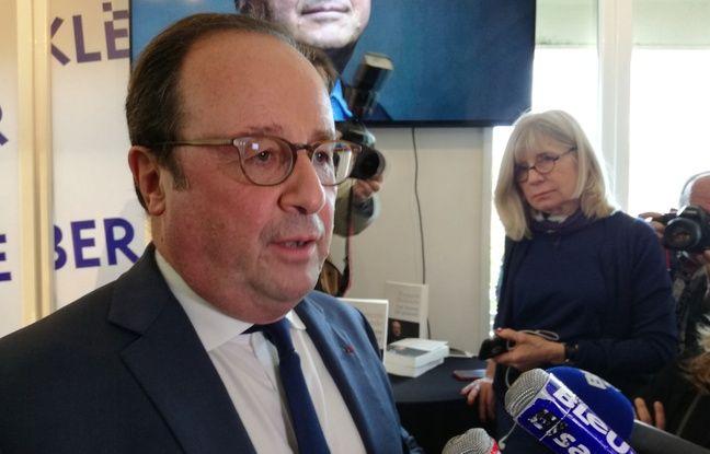 François Hollande en a profité pour répondre aux médias à Strasbourg lors de son passage à la librairie Kléber.