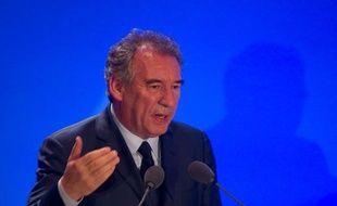François Bayrou, à Paris, le 22 juin 2013, lors du premier forum du renouveau europeen, avec les deputes européens du MoDem.