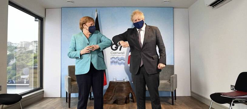 Boris Johnson et Angela Merkel au G7, le 12 juin 2021.