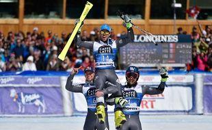 Les trois Français du podium de Saint-Moritz, le 19 mars 2016.