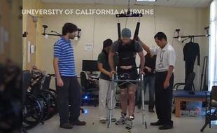 Adram Fritz, un paraplégique depuis 5 ans, avait déjà réussi un exploit l'an dernier en marchant de nouveau.