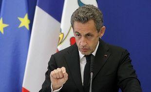 Nicolas Sarkozy lors de l'inauguration de l'institut Claude Pompidou, le 10 mars 2014.