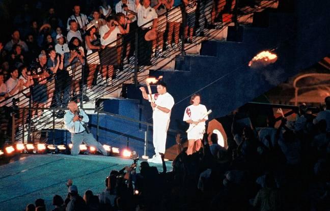 Mohamed Ali lors de la cérémonie d'ouverture des JO d'Atlanta, en 1996.