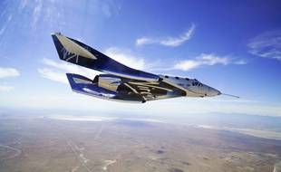 L'avion supersonique VSS Unity de Virgin Galactic lors d'un test le 29 mai 2018.