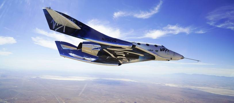 L'avion supersonique VSS Unity de Virgin Galactic lors d'un test le 29 mai 2018.
